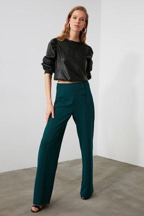 Zümrüt Yeşili Düğme Detaylı Pantolon TWOAW21PL0370