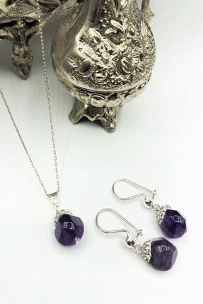 DR Stone Kadın Mor Harem Koleksiyonu Ametist Taşı El Yapımı 925 Ayar Gümüş Set Gdr13