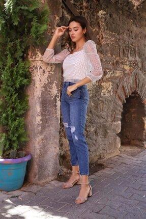 Kadın Mavi Mom Jeans JN-1155-LCVRT