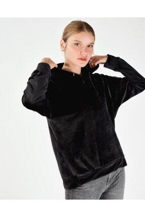 Vision Kadın Siyah Kadife Kapüşonlu Sweatshirt
