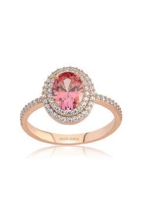 Valori Jewels 1 Karat Swarovski Zirkon Pembe Oval Taşlı Rose Gümüş Yüzük