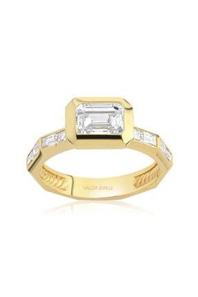Valori Jewels 1.80 Karat Swarovski Zirkon Beyaz Oktagon Taşlı, Altın Rengi Gümüş Tektaş Yüzük