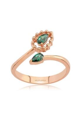 Valori Jewels 0.40 Karat Swarovski Zirkon Yeşil Damla Taşlı, Rose Gümüş Yüzük