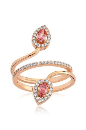 Valori Jewels 0.40 Karat Swarovski Zirkon Pembe Damla Taşlı, Rose Gümüş Yüzük