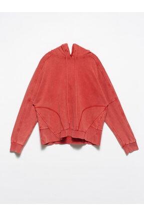 Dilvin Kadın Kırmızı Kapüşonlu Dikiş Detay Sweat 3582