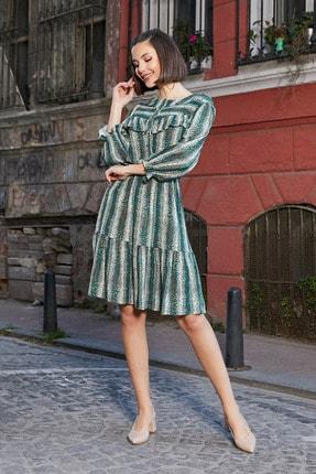 Sateen Kadın Yeşil Desenli Fırfırlı Elbise