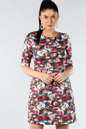 Şans Kadın Renkli Bel Bantlı Kapri Kol Elbise