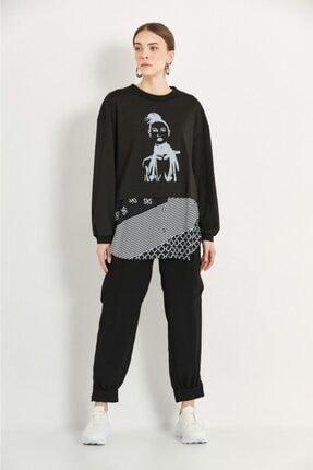 say Kadın Siyah Kız Baskılı Eteği Peç Desen Sweatshirt