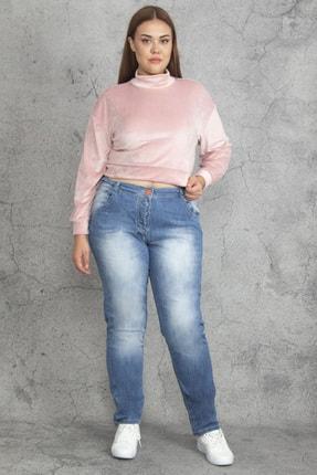 Şans Kadın Mavi Yıkama Efektli 5 Cep Kot Pantolon 65N19258