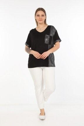 Womenice Kadın Siyah Yanı Kol Ucu Pullu Büyük Beden Bluz