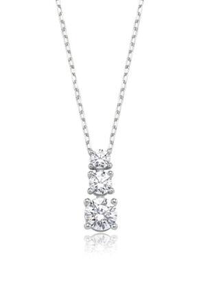 Valori Jewels 0.77 Karat Swarovski Zirkon Beyaz Yuvarlak Taşlı, Gümüş Üçtaş Kolye