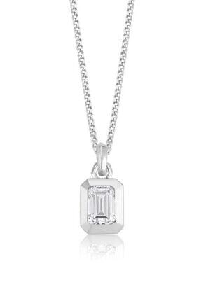 Valori Jewels 1 Karat Swarovski Zirkon Beyaz Oktagon Taşlı, Gümüş Kolye