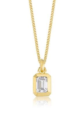 Valori Jewels 1 Karat Swarovski Zirkon Beyaz Oktagon Taşlı, Altın Rengi Gümüş Kolye