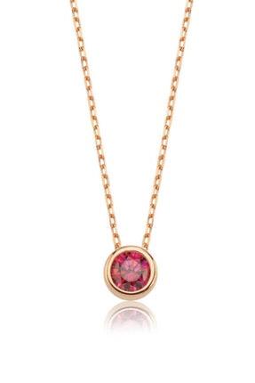 Valori Jewels 0.50 Karat Swarovski Zirkon Kırmızı Yuvarlak Taşlı, Rose Gümüş Kolye