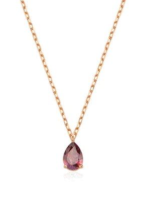 Valori Jewels 0.33 Karat Swarovski Zirkon Kırmızı Damla Taşlı, Rose Gümüş Kolye