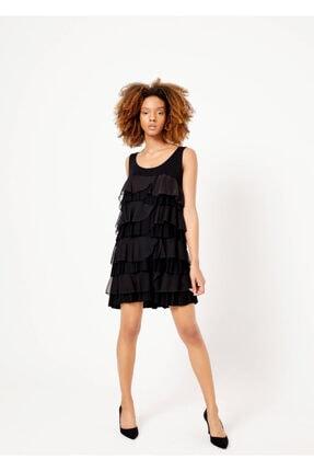 Cazador Kadın Siyah Geniş Yaka Fırfırlı Kolsuz Elbise 38