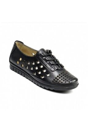 Bulldozer Kadın Siyah Hakiki Deri Ortopetik Klasik Ayakkabı