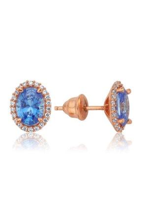 Valori Jewels 2 Karat Swarovski Zirkon Mavi Oval Taşlı, Rose Gümüş Küpe
