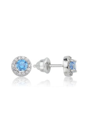 Valori Jewels 0.50 Karat Swarovski Zirkon Mavi Yuvarlak Taşlı, Gümüş Küpe