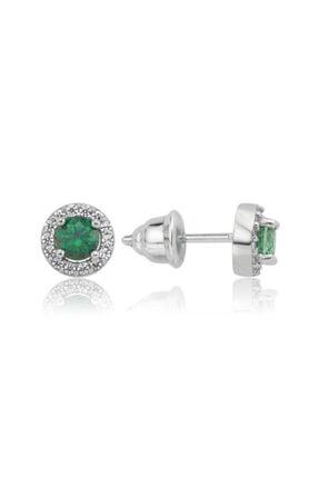 Valori Jewels 0.50 Karat Swarovski Zirkon Yeşil Yuvarlak Taşlı, Gümüş Küpe