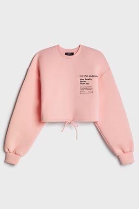 Bershka Kadın Pembe Cropped Sweatshirt