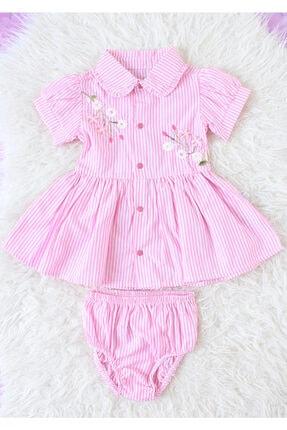 For My Baby Kız Bebek Pembe Çizgili Çiçek Işlemeli Gömlek Elbise Seti