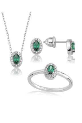Valori Jewels 1 Karat Swarovski Zirkon Yeşil Oval Taşlı, Gümüş Set