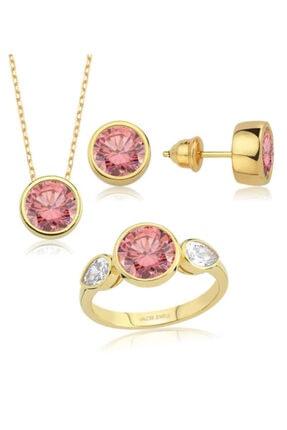 Valori Jewels 8 Karat Swarovski Zirkon Pembe Yuvarlak Ve Beyaz Damla Taşlı, Altın Rengi Gümüş Set