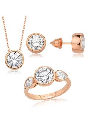 Valori Jewels 8 Karat Swarovski Zirkon Beyaz Yuvarlak Ve Damla Taşlı, Rose Gümüş Set