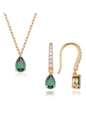 Valori Jewels 0.99 Karat Swarovski Zirkon Yeşil Damla Taşlı, Rose Gümüş Set