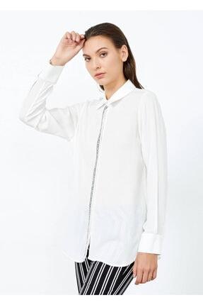 Cazador Kadın Ekru Düğmeli Uzun Kol Gömlek