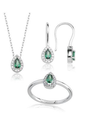 Valori Jewels 0.80 Karat Swarovski Zirkon Yeşil Damla Taşlı, Gümüş Set