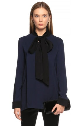 Lanvin Kadın Lacivert Siyah Şal Yaka  Bluz