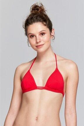 Reflections Kadın Kırmızı Üçgen Çıkarılabilir Kaplı Düz Bikini Üst