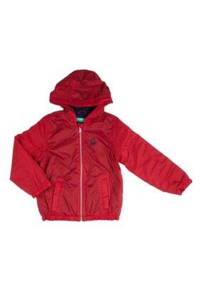 Benetton Erkek Çocuk Kırmızı Penye Astarlı Logolu Yağmurluk