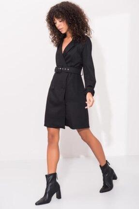 Bsl Kadın Siyah Ceket Görünümlü Mini Elbise