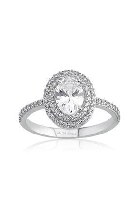 Valori Jewels 1 Karat Swarovski Zirkon Beyaz Oval Taşlı, Gümüş Yüzük