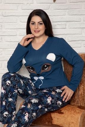 Elitol Kadın Petrol Nakişli Pamuklu Likrali Battal Pijama Takim