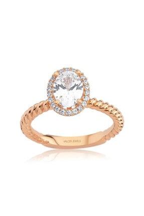 Valori Jewels 1 Karat Swarovski Zirkon Beyaz Oval Taşlı, Rose Gümüş Yüzük