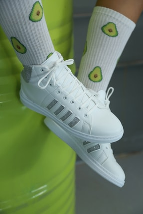 Ayakkabı Modası Kadın Beyaz Gümüş Uzun Spor Ayakkabı