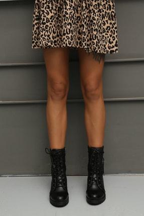 Ayakkabı Modası Kadın Siyah Postal Bot