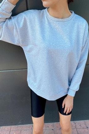 Xhan Kadın Gri Bisiklet Yaka Oversize Sweatshirt