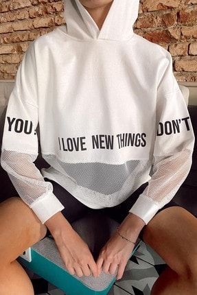 Xhan Kadın Beyaz File Detaylı Baskılı Tunik Boy Sweatshirt 1kxk8-44203-01