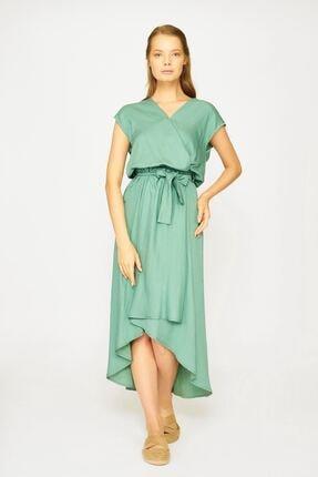 Batik Kadın Yeşil Kısa Kol Düz Casual Elbise