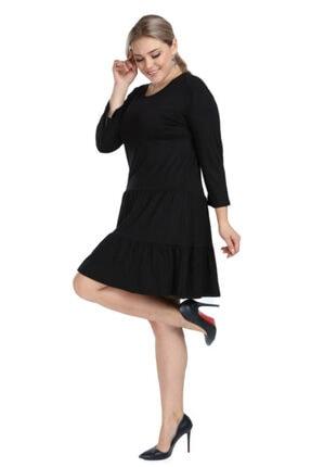ANGELINO Kadın Siyah Büyük Beden Kısa Çift Büzgülü Viskon Elbise