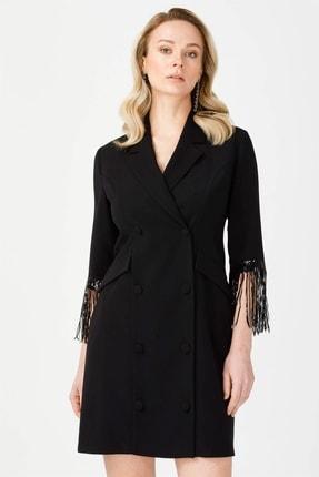 Moda İlgi Modailgi Kruvaze Kol Püsküllü Elbise Siyah