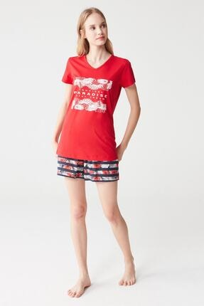 Mod Collection Kadın Kirmizi T-Shirt Şort Takımı