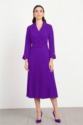 Moda İlgi Modailgi Mono Yaka Pilisoley Elbise Mor