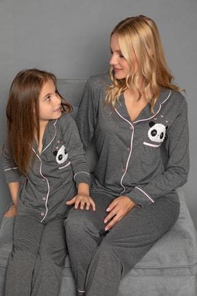 Elitol Kadın Antrasit Pamuklu Likrali Düğmeli Pijama Takim