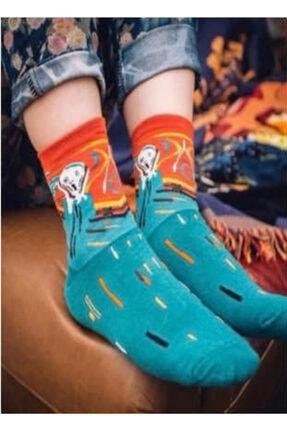 Köstebek Unisex  Renkli Edvard Munch The Scream Çorap
